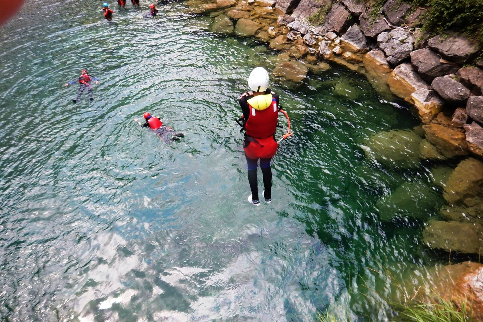 Canyoning sprong Familiereis Dolomieten