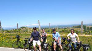 Groepje fietsers E-bike Piemonte wijngaarden