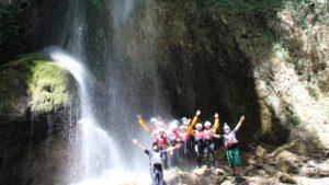 Onder de waterval in Calabrië