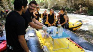 Raften rivier Lao: lunchpauze